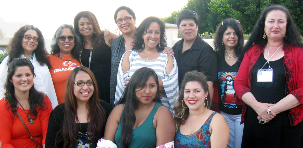 The MALCSistas from UC Santa Cruz:  from back left, Chela Sandoval, Josie Mendez-Negrete, Aida Hurtado, Maylei Blackwell, three unknown women (sorry!), and Gabriella Gutierrez y Muhs.  Front women unidentified as well (sorry!)
